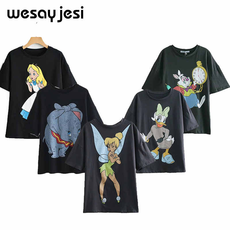 2020 Zomer Mode T-shirt Vrouwen Harajuku Streetwear Cartoon Angel Print 100% Katoen O-hals Losse T-shirt Tops Plus Size