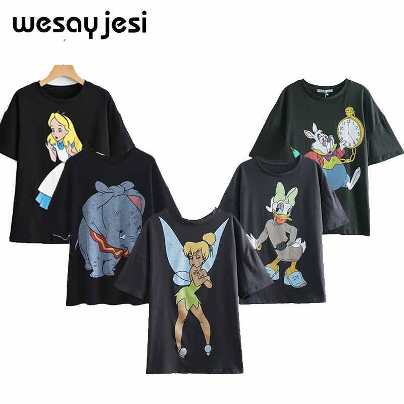 2020 sommer mode t shirt frauen harajuku streetwear cartoon engel druck 100% baumwolle oansatz lose t-shirt tops plus größe