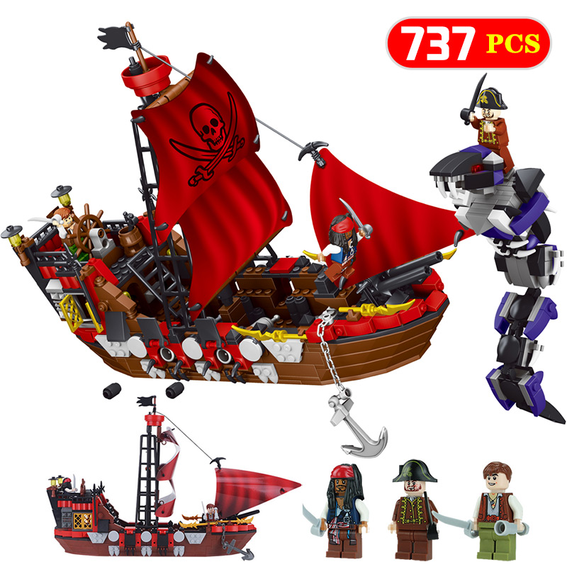 HOT 737pcs DIY Pirates Of The Caribbean Blocks Compatible LegoINGLY Pirate Ship Building Bricks Christmas Gift Toys For Children red pirate ship blocks compatible legoingly war pirate king character action diy bricks cannon building blocks toys for children