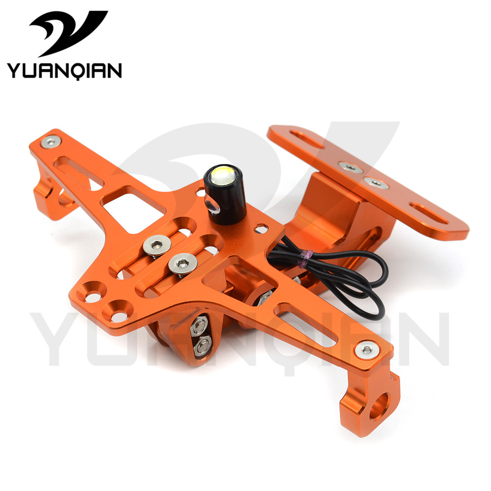 Universal Motorcycle  Moto cnc Aluminum License Number Plate Frame Holder Bracket with light FOR KTM EXC EXCF EXC F 125 250 450