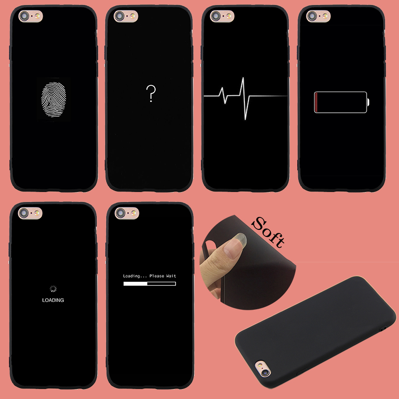 Spring Lemon For iPhone 8 8plus Case Question Mark Symbol Fingerprint Loading Black Soft TPU Case For iPHONE 6 5S 6pus 7 7plus X