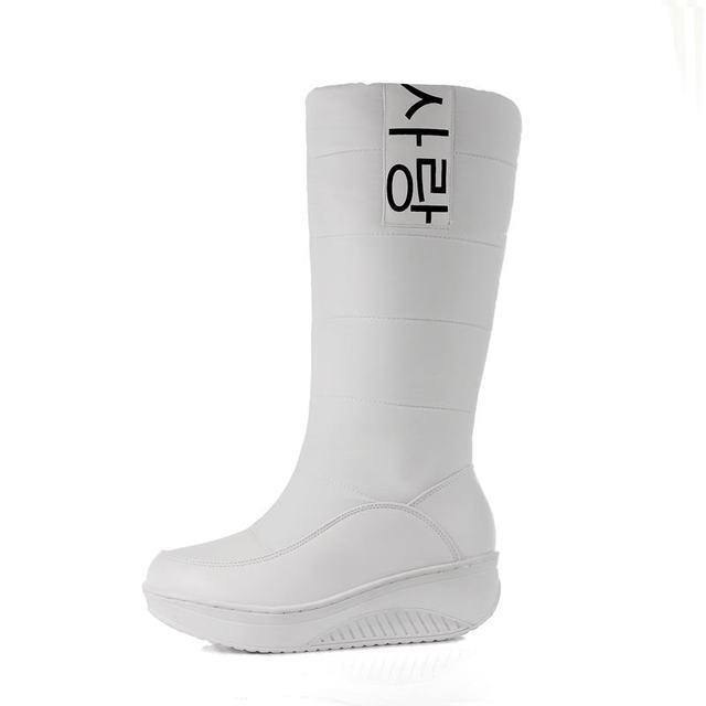 MEMUNIA SIZE 35-44 Ladies snow boots wedges heels slip on women winter boots fur inside mid calf boots sweet shoes