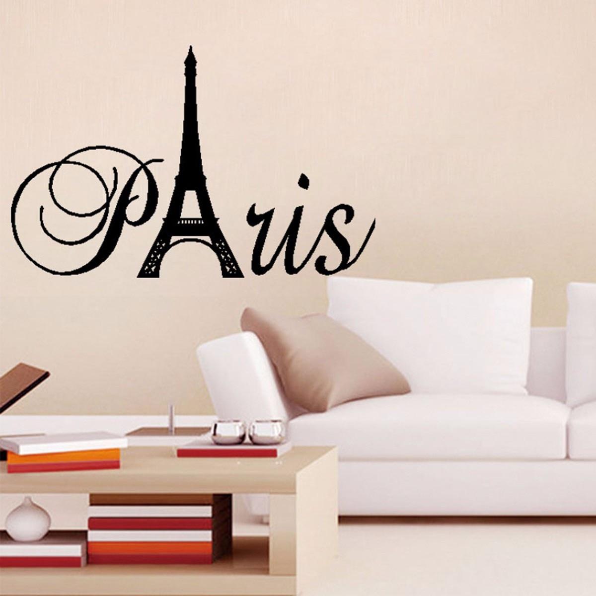 Paris Ingl S Esculpida Vinil Diy Home Decor Adesivo Parede Da Sala  -> Adesivo Parede Sala Estar