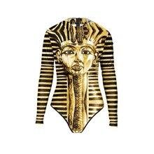 Новинка года летние пикантные с длинным рукавом египетского фараона купальники для малышек боди 3D принты один предмет женский купальник Спорт