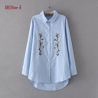 Spring Autumn Women Blouses Embroidery Long Sleeve Turn Down Collar Cotton 100 Shirts Ladies Formal Office