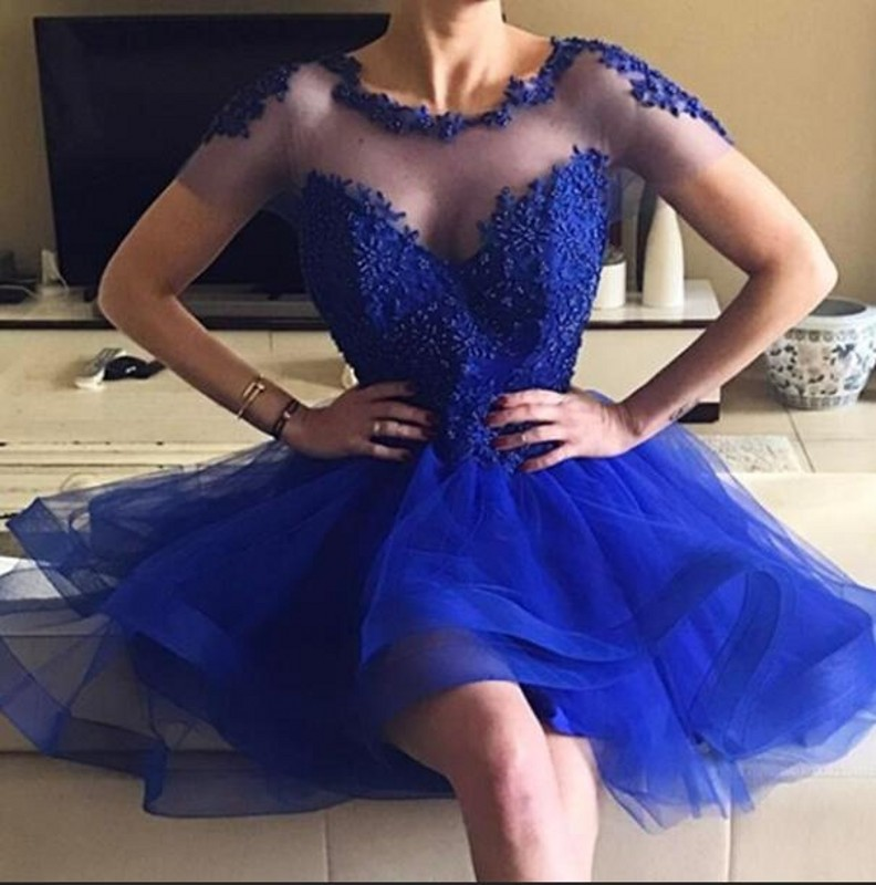 Sweet Custom Made Scoop Collar Short Sleeve Royal Blue Organza   Cocktail     Dresses