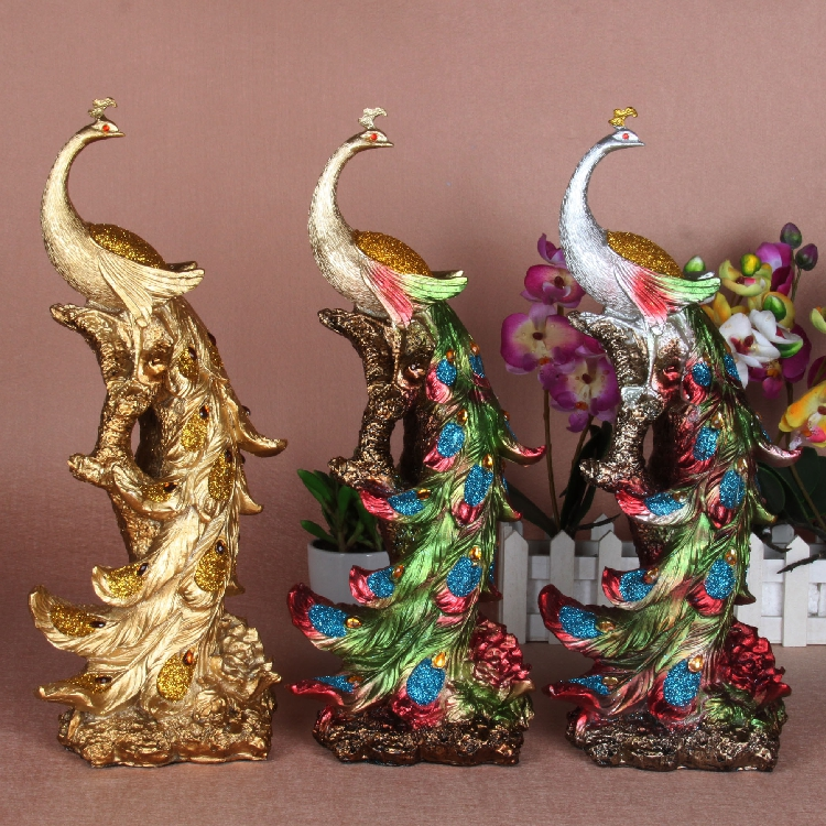 Home Decor Peacock Figurine Christmas Ornaments-in Statues