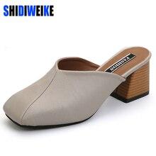 square heel women sandals summer half slippers flip flops pu leather sandals clogs shoes woman size 35-39 b703