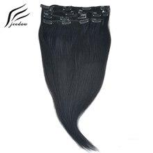 """Jeedou синтетические #1 Jet Black Цвет прямые волосы 15 """"18"""" 20 """"22"""" 70 г клип В Наращивание волос 7 шт./компл. натуральным шиньоны"""