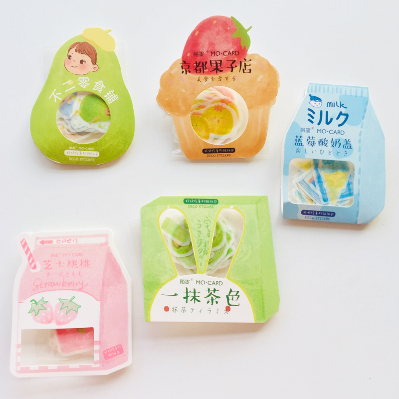 40 Sheets /Bag Delicious Fruits Foods Matcha Cats Washi Paper Decorative Stickers Computer Hand Account Decor