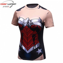 Codylundin Wonder Woman Print T-Shirt Summer breathable moisture perspiration cosplay round neck quick drying T – shirt