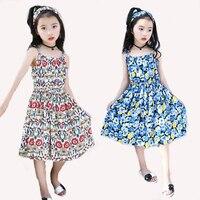 Kids Dresses For Girls Sundress Floral Print Girls Vests Dresses Summer Bohemian Beach Dress Girls Vestidos
