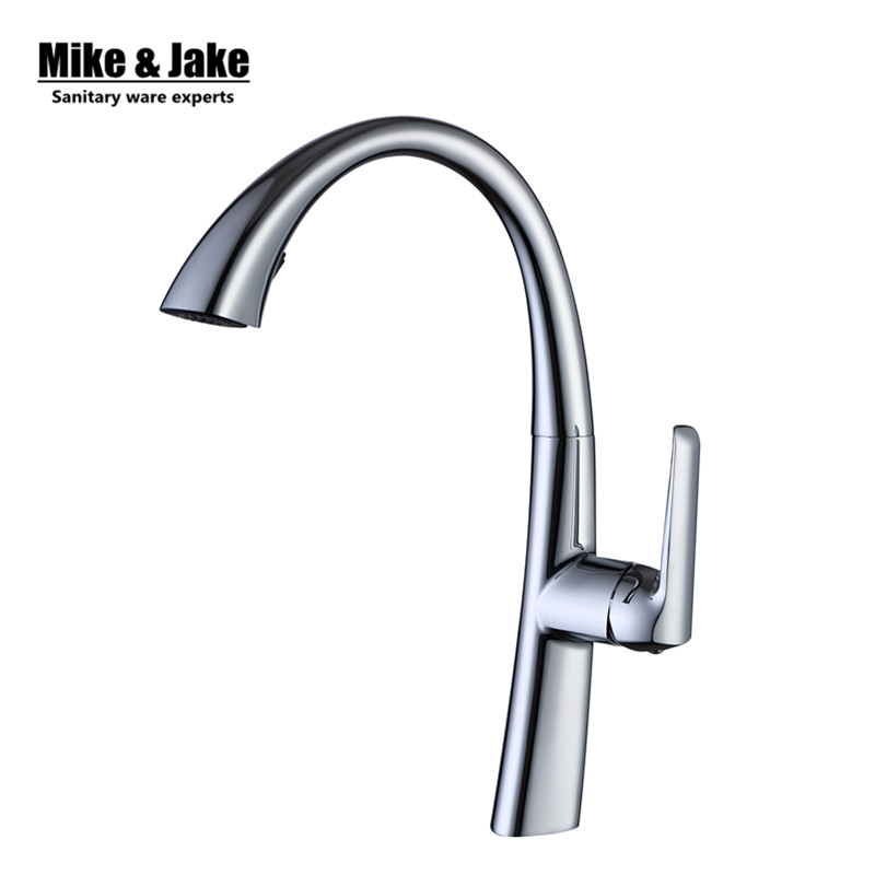 Chrome Pull out Kitchen faucet Sink mixer Faucet Deck Mount Pull Out Dual Sprayer Nozzle Hot Cold Mixer Water Taps MJD40 swanstone dual mount composite 33x22x10 1 hole single bowl kitchen sink in tahiti ivory tahiti ivory