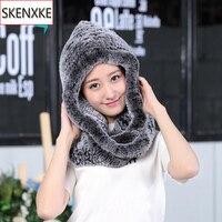 Winter women Warm Fur Scarves Lady Fashion Real Rex Rabbit Fur Hooded Scarf 100% Natural Knitted Rex Rabbit Rabbit Fur Muffler