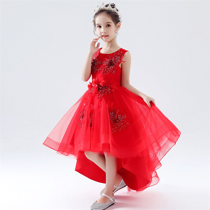 Petites filles enfants rouge Appliques fleurs élégant anniversaire mariage fête queue robe d'été de luxe bébé adolescents hôte Costume robe
