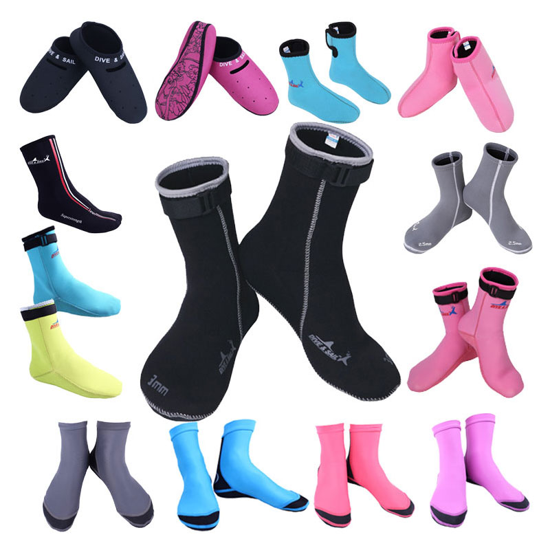 Wetsuits 2017 3mm Swim Socks Water Sock Boots Shoes Black and Pink Size 33 to 45 NEW design Premium Neoprene