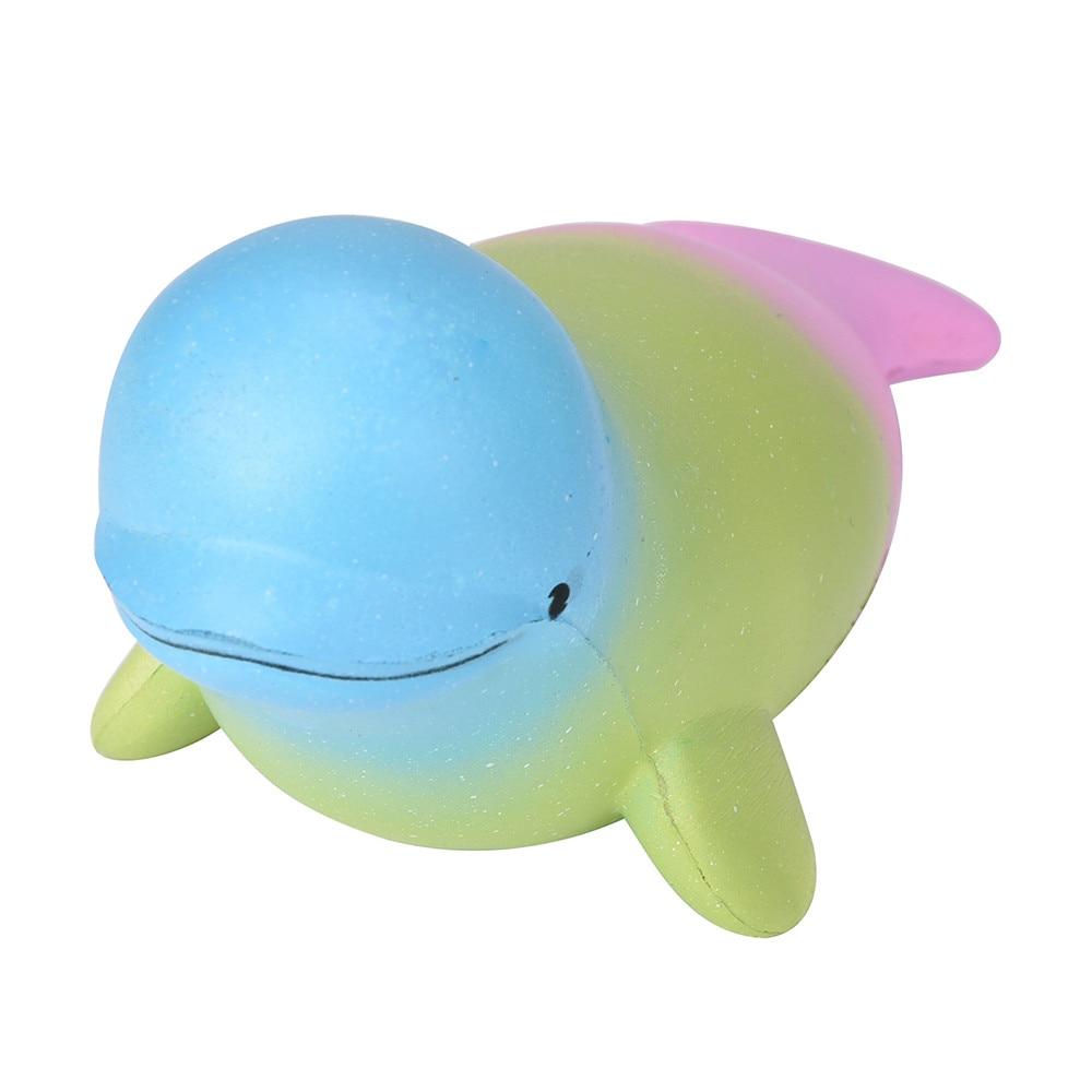 19cm Rainbow Color Dolphin Beluga Squishy Slow Rising Jumbo Kawaii ...