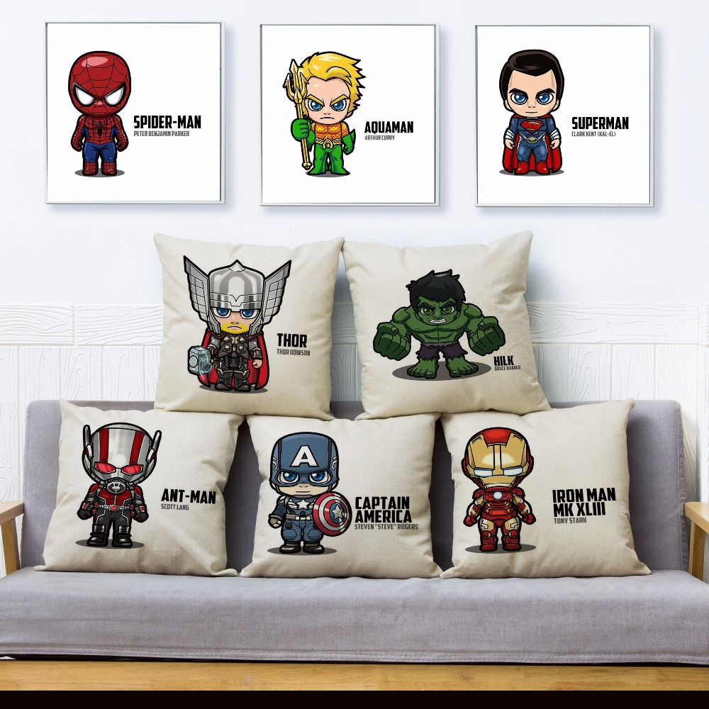 Cartoon Marvel Hero Thor Iron Man Print Throw Pillow Cover 45*45cm Cushion Covers Linen Pillow Case Car Home Decor Pillows Cases