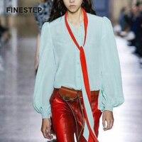 100% шелк блузка для Для женщин зеленые блузки с поясом белая шелковая блузка для Для женщин летние