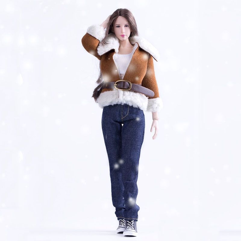 ФОТО New 1/6 VS022 Plush Fur Collar Jeans Girl Clothing Suits Model Toys For 12