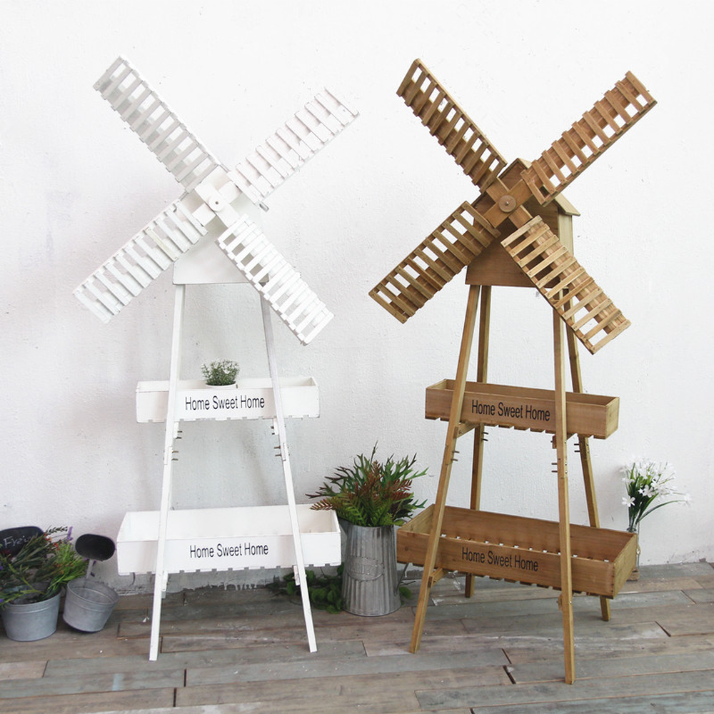 American country old wood flower stand multi layer windmill flower stand living room balcony meat racks cafe decoration lo813426