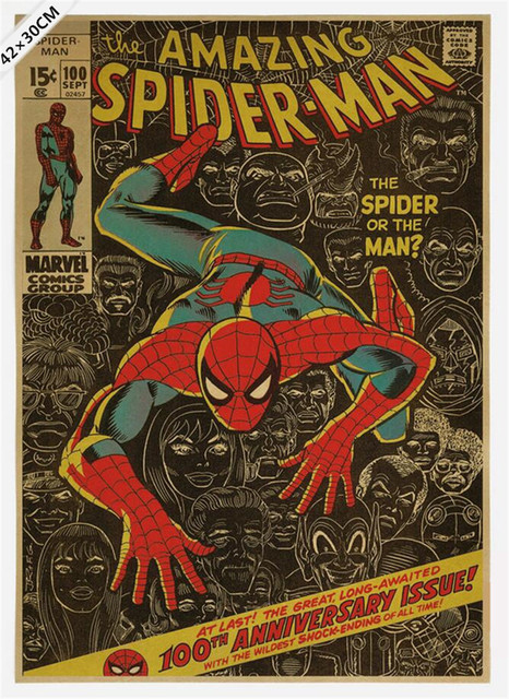 51355cm Movie Spiderman Vintage Cartoon Hero Poster Boy Room Decor Bar Pub Wall