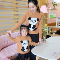 Winter Korean Version of Cute Cartoon Panda Sweaters Family Matching Clothes