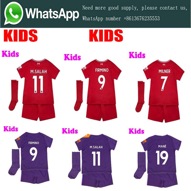 058bf30300f 2019 liverpool Home away Child kids kit +socks soccer jersey 18 19 FIRMINO  MANE SALAH football child suit shirt Free shipping