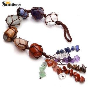 Image 2 - Sunligoo 7 Чакры, свисающие драгоценные камни, кисточка для духовной медитации, Висячие/оконные/Фэн шуй, декоративные камни для рейки, украшение для автомобиля/дома