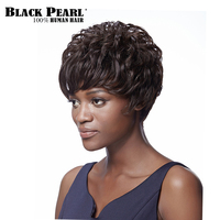 Black Pearl Brazilian Remy Hair Short Wavy Wigs For Black Women Dark Black Brown Hair Short Pixie Cut Bob Wigs with Bangs