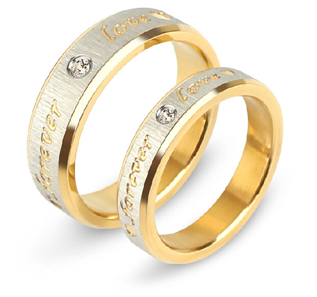1pcs Never fade engagement gold silver plated forever Love letter jewelry accessories Women & Men wedding Couple Rings