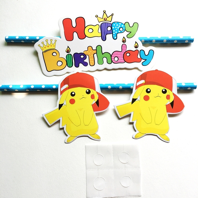 Heisse Neue Cartoon Pokemon Pikachu Kuchendeckel Pick Happy Birthday Brief Partei Hochzeitstag Dekoration Kind Kuchen Fahnen