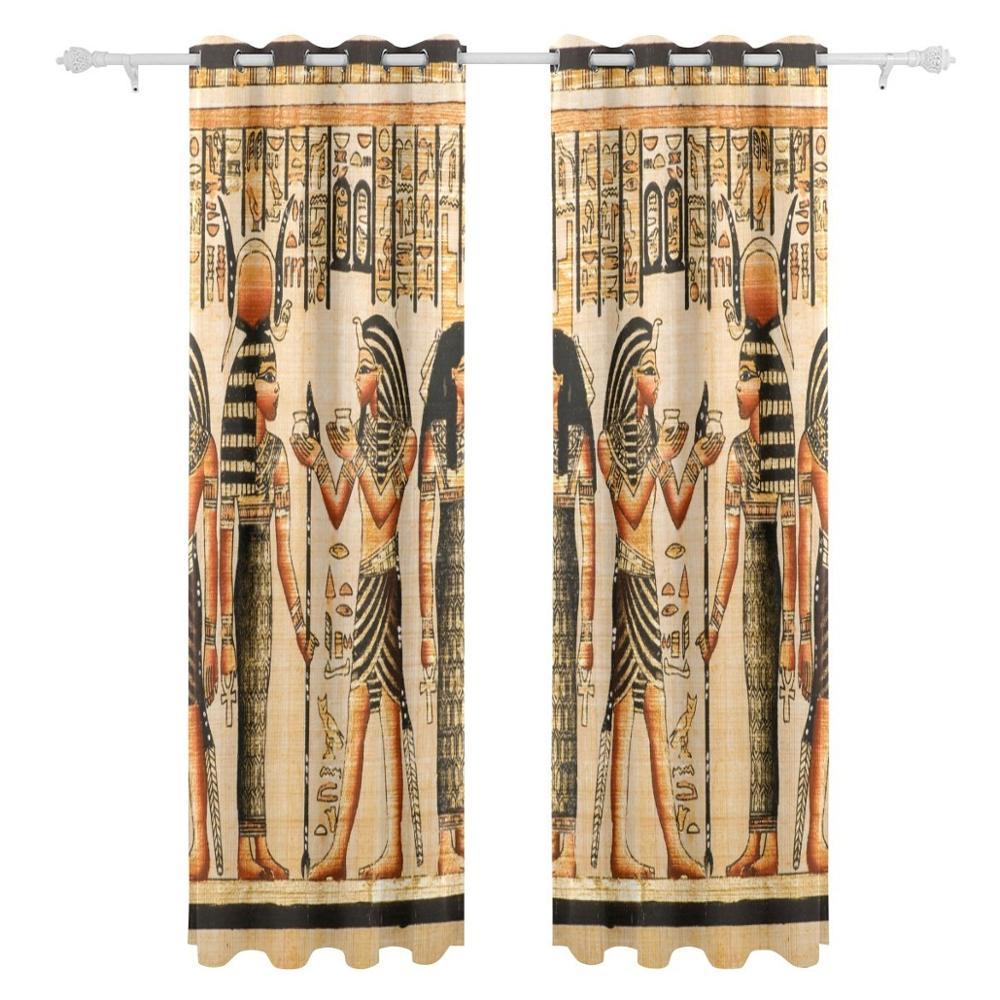 Vintage Egypt Art ผ้าม่านแผง Darkening Blackout Grommet Divider สำหรับ Patio หน้าต่างบานเลื่อนประตู-ใน ผ้าม่าน จาก บ้านและสวน บน   2