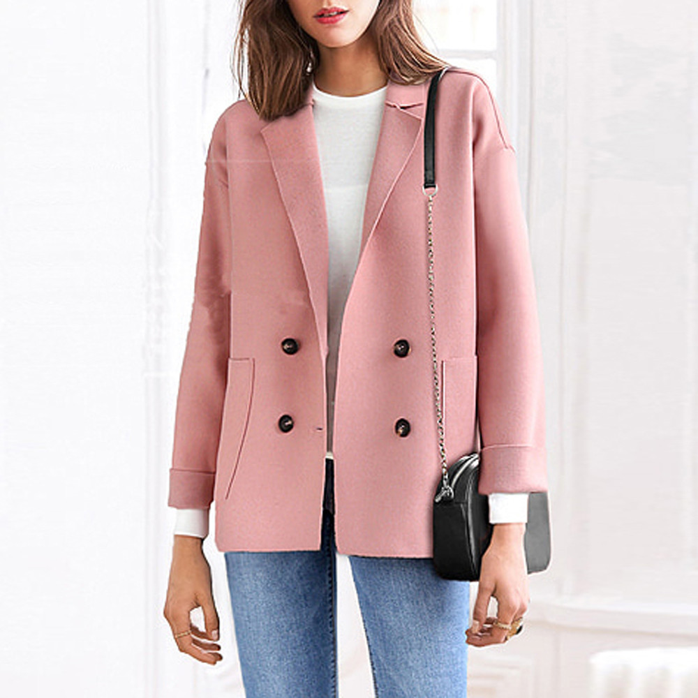 Spring Autumn Women's Plus Size Solid Pocket double-breasted  long sleeve Loose Coat Shirt Button Casual Overcoat Outwear