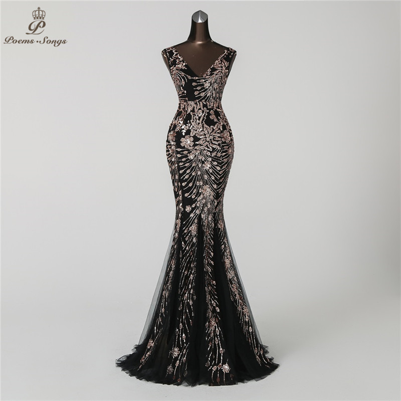 Hot Sale Poems Songs 2018 Double-V Mermaid Evening Dress prom gowns ...