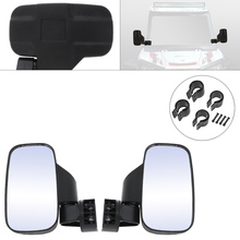 2pcs Motorcycle Side View Mirrors 19.2CM Black Mictuning UTV Mirror with 1.75 & 2 Mounts Rubber Pad for Motorbike