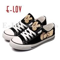 E лов Винтаж Дизайн почтовая марка и эмблема напечатаны парусиновая обувь high end customzied Для женщин повседневные туфли на плоской подошве Zapatos