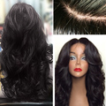 Heat Resistant Synthetic Wigs Long Body Wave Natural Black Synthetic Lace Front Wig With Baby Hair Thick Full Head In Stock