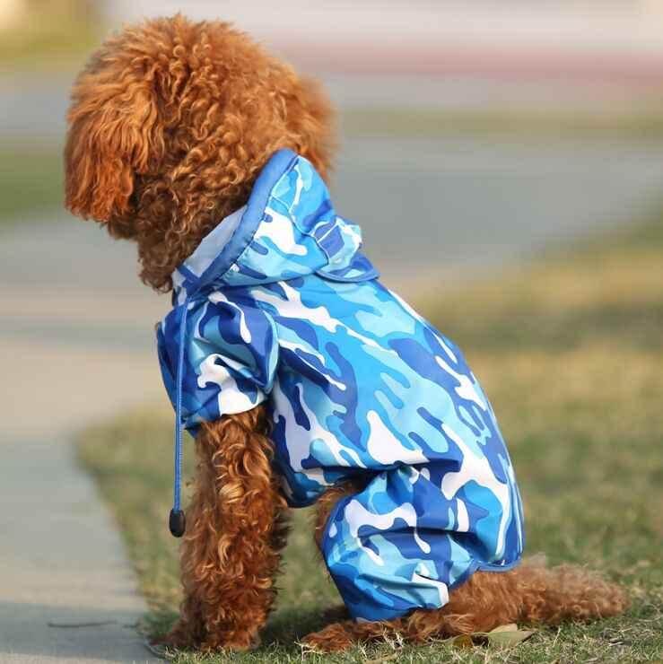 방수 패션 블루 위장 개 비옷 재킷 개 옷 비옷 D460