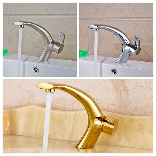 ФОТО Wholesale And Retail Chrome/Nickle/Gold Basin Faucet Bathroom Sink Tap Single Lever Mixer Tap