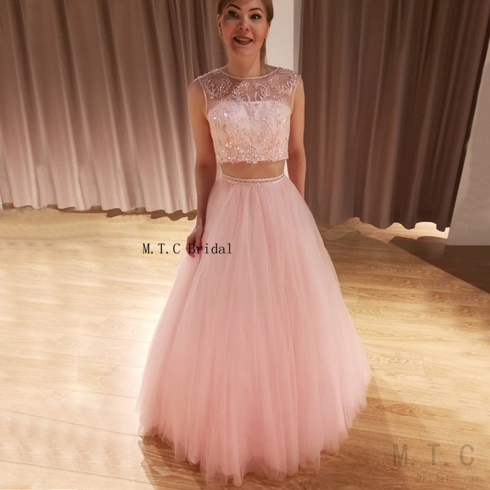 Exquisite Beaded Tulle Pink 2 Piece   Prom     Dresses   A Line Sleeve Floor Length Formal Evening Gowns Long 2019 Robe De Soiree Cheap