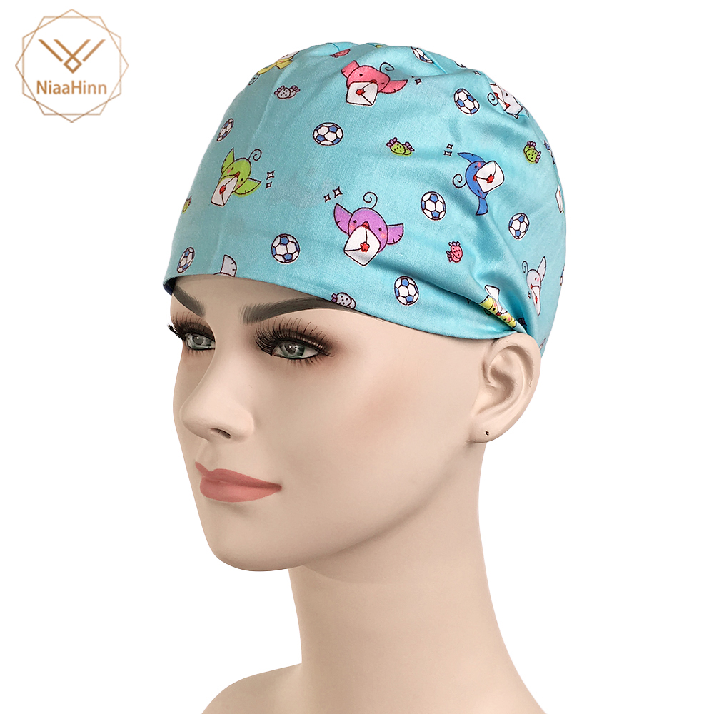 Brilliant New Medical Caps Surgical Cap 100% Cotton Blue Cartoon Printing Doctor Nurse Cap Scrub Lab Clinic Dental Operation Hats Unisex