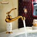 Frete Grátis bacia do banheiro torneira de ouro, bronze com Diamante/cristal corpo da torneira Novo Único Punho quente e fria da torneira 50015GT