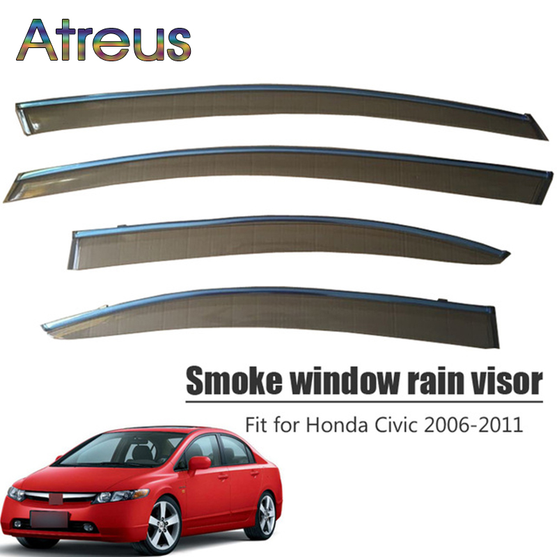Atreus 1set ABS For 2015 2014 2013 2012 Honda Civic 2006-2011 Accessories Car Vent Sun Deflectors Guard Smoke Window Rain Visor цены