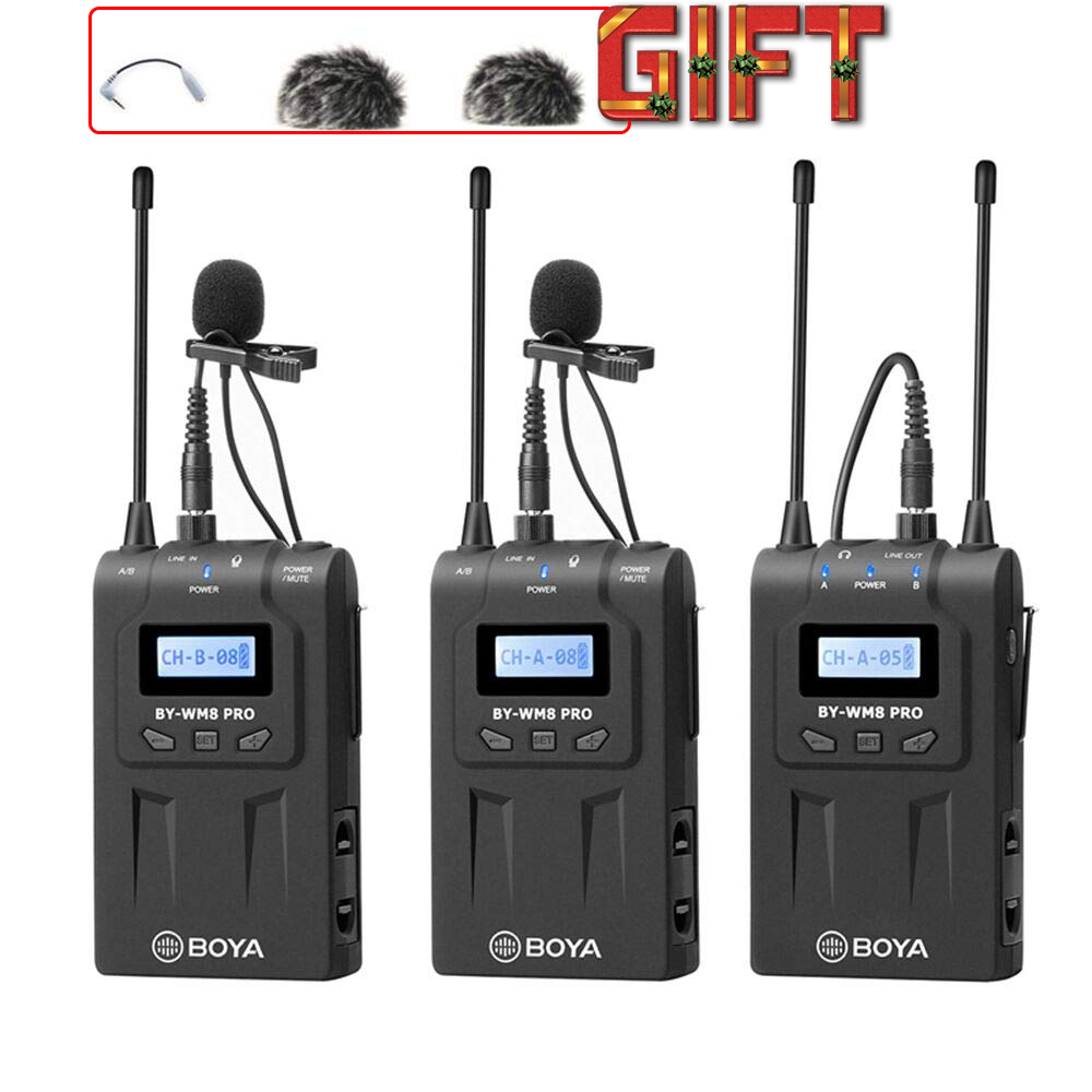 BOYA BY WM8Pro K2 K1 mic condenser Wireless Mic Microphone System Audio Video Recorder Receiver for