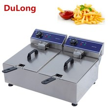 Brand New CE approved Commercial 20L 220V Stainless Steel Electric Countertop Deep Fryer Dual Tank Basket
