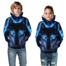 Детские толстовки с капюшоном для мальчиков и девочек; Детский свитер с объемным рисунком волка и тигра; пуловер с карманами; одежда с капюшоном для подростков