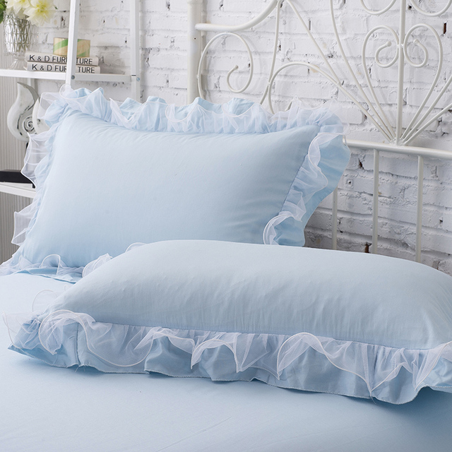 SunnyRain 2-Pieces Solid Color Pillow Cover Rectangle Bed Pillow Case Cotton Pillowcase Lace Edge Solf Easy Care 48x74cm