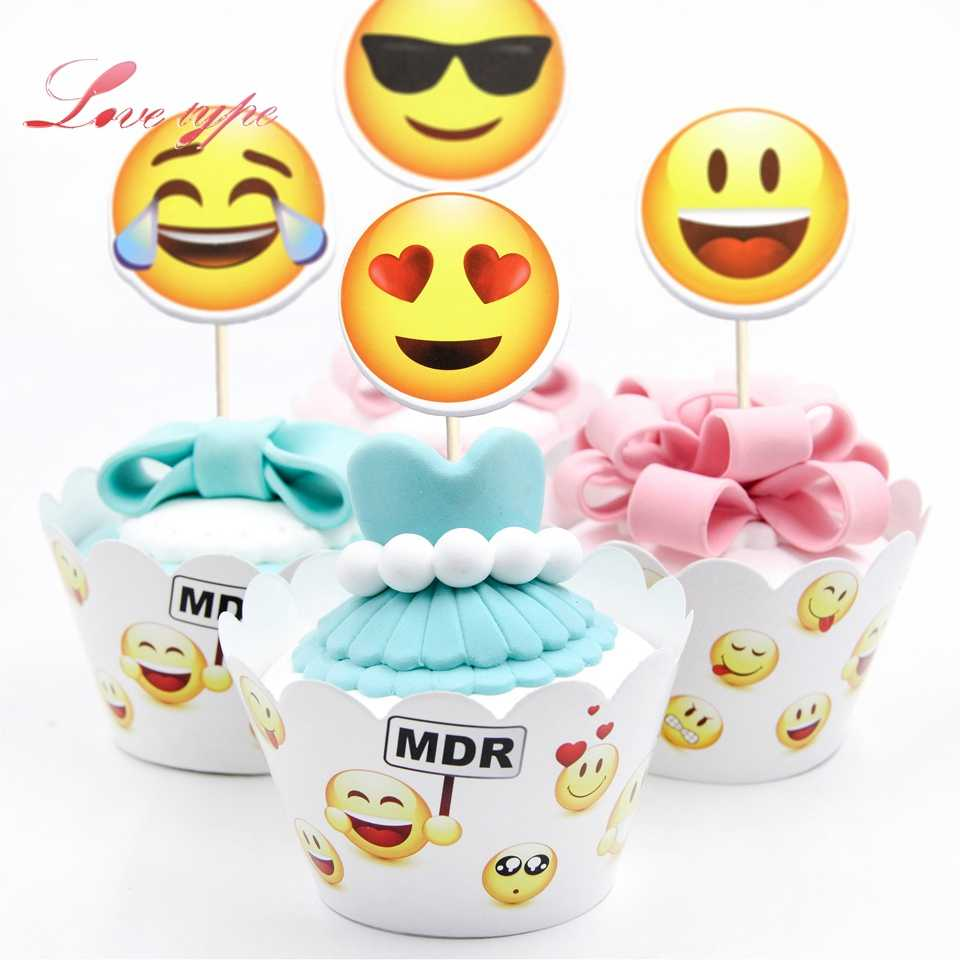 12pcs Set Funny Emoji DIY Party Cake Topper Wedding Happy Birthday Decorations Kids Adult