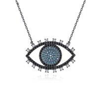 Hanger Kettingen Eye Hangers Kettingen Vrouwen Blauw Stone Black Gold Kleur Chunky Statement Ketting voor Vrouwen 2018 N030